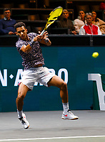 Rotterdam, The Netherlands, 14 Februari 2020, ABNAMRO World Tennis Tournament, Ahoy,   Aljaz Bedene (SLO), Felix Auger-Aliassime (CAN).<br /> Photo: www.tennisimages.com