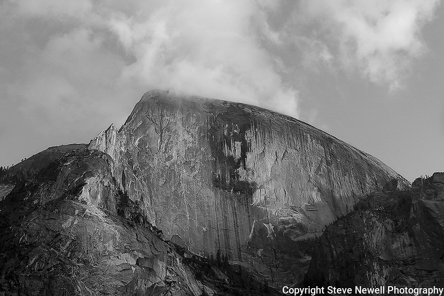 """""""Half Dome Sunset Fall"""" Black and White taken during the Fall Season. Yosemite National Park, California. Capturing Half Dome at sunset really showcases the spectacular colors of its monolithic face.  45,000 people a year climb the famous cables to the summit too enjoy the view of the Valley floor."""