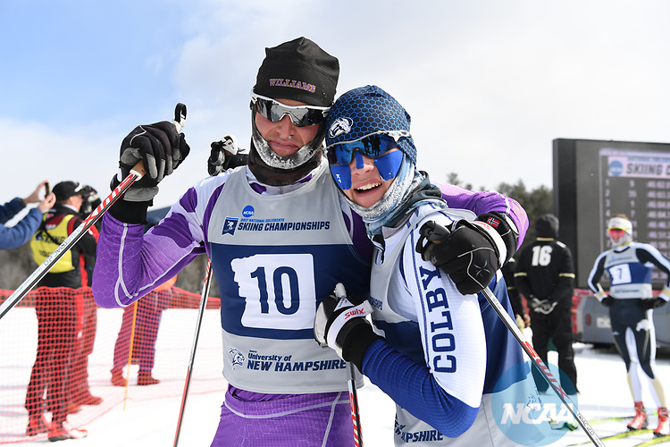 FRANCONIA, NH - MARCH 11:   Brothers Jordan Fields of Williams College and Zane Fields of Colby College congratulate each other after the Men's 20K Freestyle event at the Division I Men's and Women's Skiing Championships held at Jackson Ski Touring on March 11, 2017 in Jackson, New Hampshire. (Photo by Gil Talbot/NCAA Photos via Getty Images)