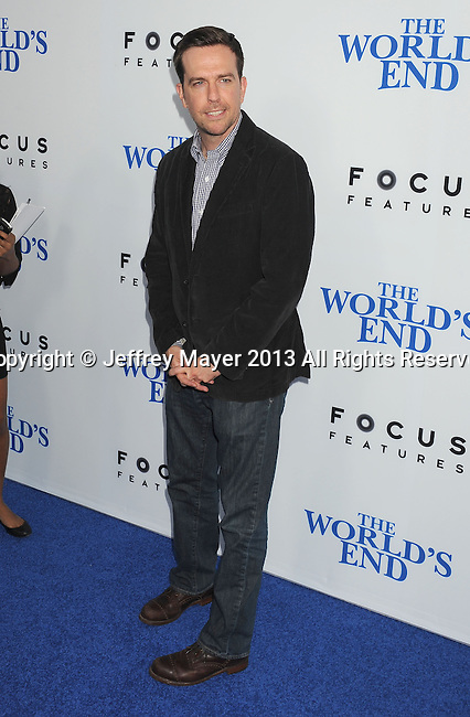 HOLLYWOOD, CA- AUGUST 21: Actor Ed Helms arrives at the Los Angeles premiere of 'The World's End' at ArcLight Cinemas Cinerama Dome on August 21, 2013 in Hollywood, California.