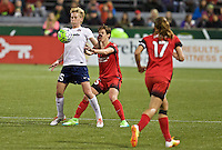 Portland, Oregon - Saturday May 21, 2016: Washington Spirits Joanna Lohman (15) and the Portland Thorns Meghan Klingenberg (25) during a regular season NWSL match at Providence Park. The Thorns won 4-1.