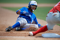 Toronto Blue Jays Steward Berroa (17) slides into third base during an Instructional League game against the Philadelphia Phillies on September 23, 2019 at Spectrum Field in Clearwater, Florida.  (Mike Janes/Four Seam Images)