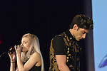 "Bellmore, New York, USA. July 21, 2016.  Singers ROBBIE ROSEN, of American Idol top 8 Boys from Merrick, and SARAH BARRIOS perform the duet ""Chains"" at the19th Annual Long Island International Film Expo Awards Ceremony, LIIFE 2016, held at the historic Bellmore Movies. LIIFE was called one of the 25 Coolest Film Festivals in the World by MovieMaker Magazine."