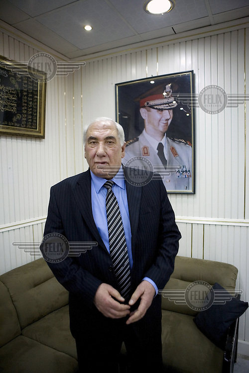 The Governor of Deraa, Mohammed Khalil Al Khanous, in his heavily guarded office. Protests against the ruling Baathist regime erupted in March 2011and although they were peacefully government forces violently repressed them. In response to being commanded to shoot unarmed civilians large numbers of men deserted the army and formed the Free Syrian Army and an armed uprising began with major clashes taking place in early 2012...