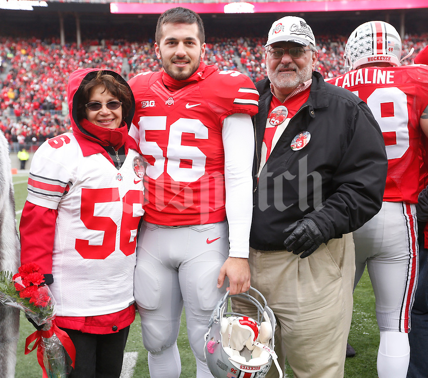 Ohio State Buckeyes long snapper George Makridis (56) was one of nineteen seniors recognized before Saturday's NCAA Division I football game against Indiana at Ohio Stadium in Columbus on November 23, 2013. (Barbara J. Perenic/The Columbus Dispatch)