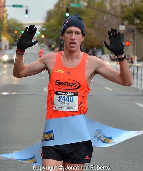 Michael Eaton wins the Louisville Sports Commission Half Marathon Winner 2012 with a time of 1:09:52, photo by Jonathan Roberts