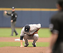 Masahiro Tanaka (Yankees),<br /> MAY 9, 2014 - MLB :<br /> Masahiro Tanaka of the New York Yankees touches the pitcher's plate before delivering the first pitch in the first inning during the Major League Baseball game against the Milwaukee Brewers at Miller Park in Milwaukee, Wisconsin, United States. (Photo by AFLO)