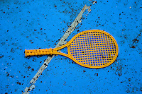 Racket in the bottom of a blue pool in Poland. Zawady Central Poland