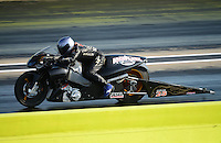 Sept. 21, 2012; Ennis, TX, USA: NHRA pro stock motorcycle rider Matt Guidera during qualifying for the Fall Nationals at the Texas Motorplex. Mandatory Credit: Mark J. Rebilas-