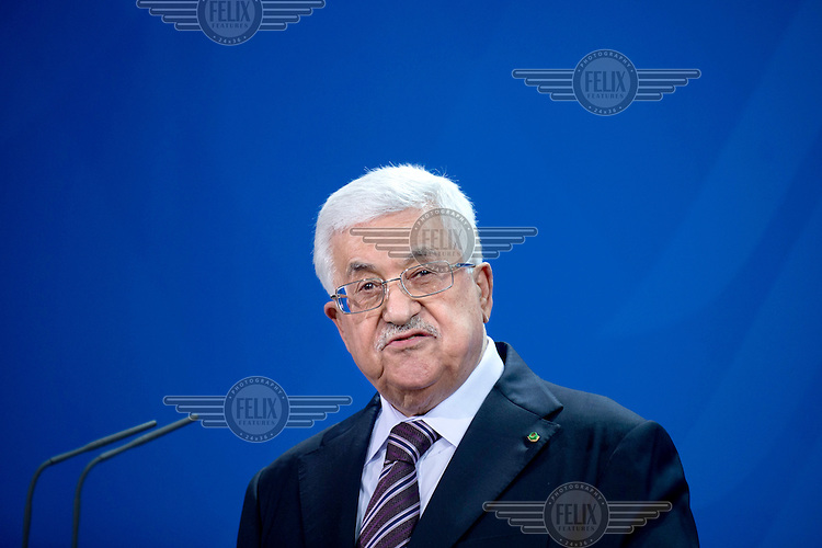 Mahmoud Abbas, the Chairman of the Palestine Liberation Organization (PLO) speaks to the media following talks at the Chancellery Office.