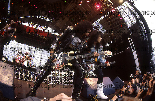 KISS - Gene Simmons and Paul Stanley - performing live at the Monsters of Rock festival at Castle Donington Leicestershire UK - 20 Aug 1988.  Photo credit: George Bodnar Archive/IconicPix