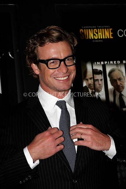 WWW.ACEPIXS.COM . . . . .  ....October 17 2011, New York City....Simon Baker arriving at the 'Margin Call' premiere at the Landmark Sunshine Cinema on October 17, 2011 in New York City. ....Please byline: NANCY RIVERA- ACEPIXS.COM.... *** ***..Ace Pictures, Inc:  ..Tel: 646 769 0430..e-mail: info@acepixs.com..web: http://www.acepixs.com