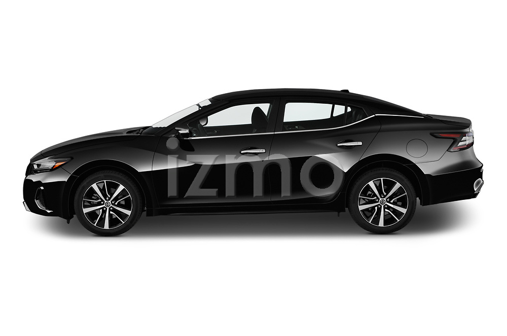 Car Driver side profile view of a 2019 Nissan Maxima SV 4 Door Sedan Side View