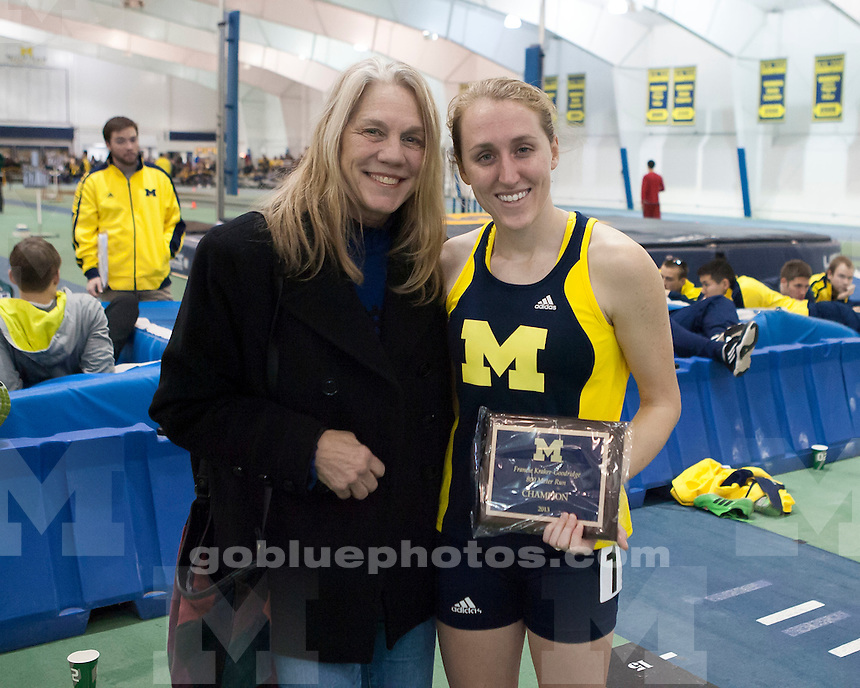 The University of Michigan women's track and field team compete at the Simmons-Harvey Invitational (non-scoring) at the Indoor Track and Field Building in Ann Arbor, Mich., on January 19, 2013.