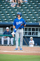 Tulsa Drillers infielder Gavin Lux (10) steps to the plate on May 13, 2019, at Arvest Ballpark in Springdale, Arkansas. (Jason Ivester/Four Seam Images)