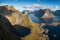 View over Reine and Fjord landscape from summit of Reinebringen, Moskenesoy, Lofoten Islands, Norway