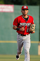 Carolina Mudcats center fielder Joantgel Segovia (25) running into the dugout between innings during a game against the Myrtle Beach Pelicans at Ticketreturn.com Field at Pelicans Ballpark on June 15 , 2018 in Myrtle Beach, South Carolina. Carolina defeated Myrtle Beach 4-2. (Robert Gurganus/Four Seam Images)
