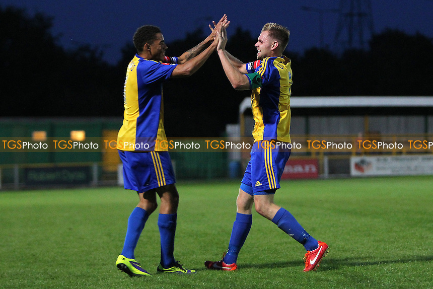 Jack Barry scores the first goal for Romford and celebrates (R) - Romford vs Dereham Town - Ryman League Divison One North Football at Ship Lane, Thurrock FC, Purfleet, Essex - 20/08/14 - MANDATORY CREDIT: Gavin Ellis/TGSPHOTO - Self billing applies where appropriate - contact@tgsphoto.co.uk - NO UNPAID USE