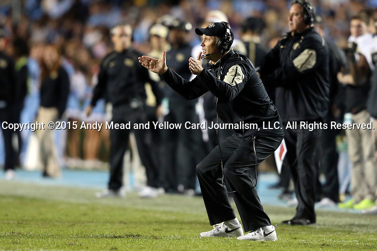 17 October 2015: Wake Forest head coach Dave Clawson. The University of North Carolina Tar Heels hosted the Wake Foresst University Demon Deacons at Kenan Memorial Stadium in Chapel Hill, North Carolina in a 2015 NCAA Division I College Football game. UNC won the game 50-14.