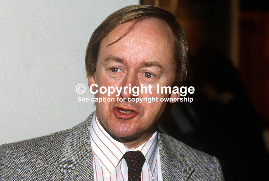 Walter Love, broadcaster, BBC, Belfast, N Ireland, 19861115WL2..Copyright Image from Victor Patterson, 54 Dorchester Park, Belfast, United Kingdom, UK...For my Terms and Conditions of Use go to http://www.victorpatterson.com/Victor_Patterson/Terms_%26_Conditions.html