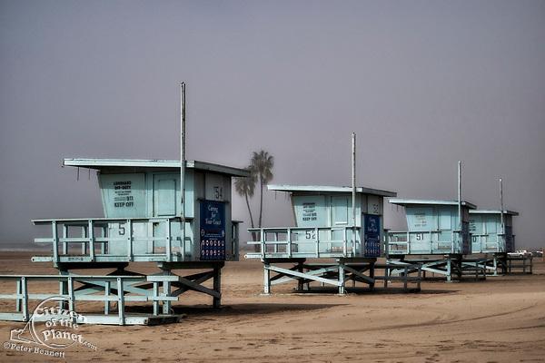 Lifeguard Stations along Playa Del Rey beach, Los Angeles, California, USA