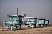 Lifeguard Stations along Playa Del Rey beach, Los Angeles, California, USA