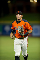 AZL Giants Diego Rincones (35) jogs off the field between innings of the game against the AZL Brewers on August 15, 2017 at Scottsdale Stadium in Scottsdale, Arizona. AZL Giants defeated the AZL Brewers 4-3. (Zachary Lucy/Four Seam Images)