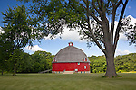 Johnson Sauk Trail State Park, IL<br /> Curving red walls of Ryan's round barn (1910) in Henry County
