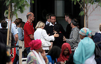 (Oslo July 23, 2011)Crown Prince Haakon visits survivors and relatives.  The day after a shooting spree by a lone gunman who killed over 80 youths at a political camp.  The man was also thought to be behind a  powerful explosion ripped through government buildings in central Oslo, Norway, killing many people and injuring more.  (photo: Fredrik Naumann/Felix Features)