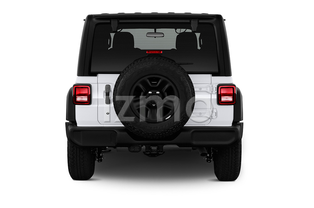 Straight rear view of a 2018 Jeep Wrangler Unlimited Sport S 5 Door SUV stock images