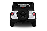 Straight rear view of a 2020 Jeep Wrangler Unlimited Sport S 5 Door SUV stock images