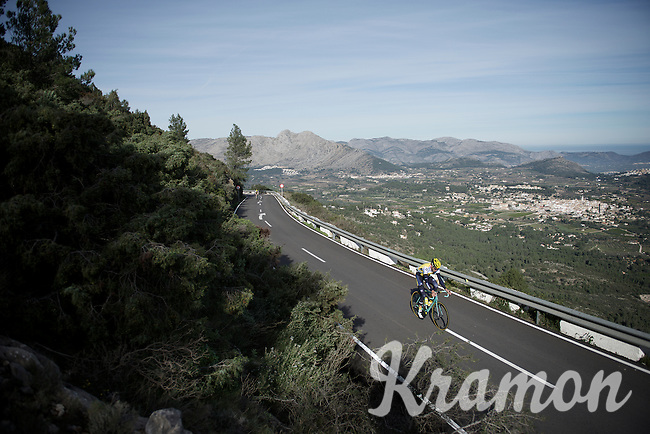 a Team LottoNL-Jumbo rider training up Coll de Rates (Alicante, Spain)<br /> <br /> January 2016 Training Camps