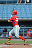 First baseman Justin Bellinger (34) of St. Sebastians School in Weston, Massachusetts playing for the Philadelphia Phillies scout team during the East Coast Pro Showcase on July 31, 2013 at NBT Bank Stadium in Syracuse, New York.  (Mike Janes/Four Seam Images)