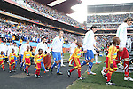 24 JUN 2010: Italy's starters and Slovakia's starters (behind) march onto the field. The Slovakia National Team defeated the Italy National Team 3-2 at Ellis Park Stadium in Johannesburg, South Africa in a 2010 FIFA World Cup Group F match.