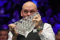 19th january 2020, Alexandra palace, London, United Kingdom;  Stuart Bingham of England kisses his champions trophy during the awarding ceremony at Snooker Masters 2020 at the Alexandra Palace in London