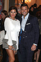 Jessica and Mark Wright arriving for the I Can't Sing Press Night, at the Paladium, London. 26/03/2014 Picture by: Alexandra Glen / Featureflash