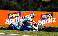 Pons Kalex Moto2 rider Alex Pons of Spain crashes during during the Australian Motorcycle GP in Phillip Island, Oct 20, 2013. Photo by Daniel Munoz/VIEWpress IMAGE RESTRICTED TO EDITORIAL USE ONLY- STRICTLY NO COMMERCIAL USE.