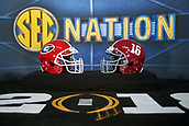 January 8th 2018, Atlanta, GA, USA; A detailed view of a Georgia Bulldogs helmet and Alabama Crimson Tide helmet is seen on the SEC Nation broadcast setup prior to the start of the College Football Playoff National Championship Game between the Alabama Crimson Tide and the Georgia Bulldogs on January 8, 2018 at Mercedes-Benz Stadium in Atlanta, GA.