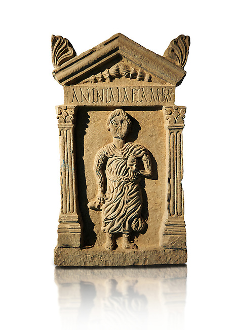 Second century Roman funerary stele dedicated to Anninia Laeta from the cemetery of Thuburbo Majus a city of the Roman province of Africa Proconsularis, in present day Tunisia. The Bardo National Museum , Tunis, Tunisia.  Against a white background.
