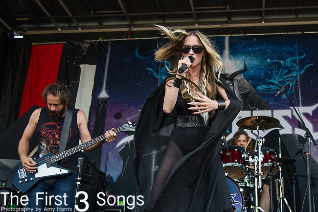 Jill Janus of Huntress performs during the 2013 Mayhem Festival at Klipsch Music Center in Indianapolis, Indiana.
