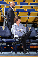 25 February 2012:  FIU Head Coach Cindy Russo enjoys a light moment before the game.  The FIU Golden Panthers defeated the University of South Alabama Jaguars, 58-55 (OT), at the U.S. Century Bank Arena in Miami, Florida.