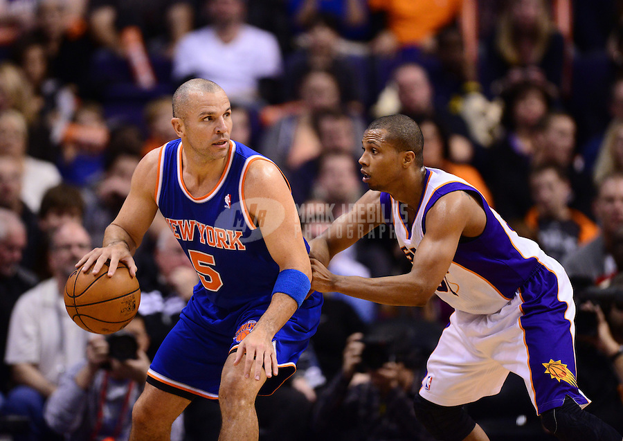 Dec. 26, 2012; Phoenix, AZ, USA: New York Knicks guard Jason Kidd (left) controls the ball against Phoenix Suns guard Sebastian Telfair at the US Airways Center. Mandatory Credit: Mark J. Rebilas-USA TODAY Sports