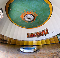 US, Florida, Miami Beach. Interior, Miami Beach Post Office. Stitched panorama.