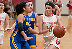 WINSTED,  CT-021919JS09- Northwestern's  Emma Propfe (13) drives to the basket past Gilbert's Angelina Delacruz (11)  during their Berkshire League semi-final game Tuesday at Northwestern Regional High School in Winsted. <br /> Jim Shannon Republican American