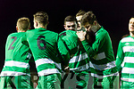 Killarney Celtic Jamie Spillane celebrates with his team mates after scoring against Jamesboro in the FAI cup quarter final in Celtic Park on Saturday night