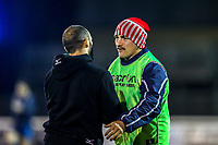 Players warm up ahead of the Championship Cup match between London Scottish Football Club and Ealing Trailfinders at Richmond Athletic Ground, Richmond, United Kingdom on 23 November 2018. Photo by David Horn/PRiME Media Images
