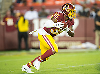 Landover, MD - August 24, 2018: Washington Redskins running back Kapri Bibbs (35) returns a kickoff during preseason game between the Denver Broncos and Washington Redskins at FedEx Field in Landover, MD. The Broncos defeat the Redskins 29-17. (Photo by Phillip Peters/Media Images International)