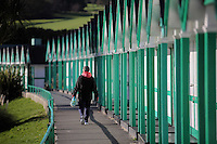 WEATHER PICTURE<br />Pictured: A woman enjoys the sunshine strolling in Langland Bay near in Swansea, south Wales, UK. Tuesday 29 November 2016<br />Re: Temperatures close to freezing affect parts of England and Wales.
