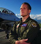 Centerville native and former Ohio State Buckeye and Green Bay Packer, A.J. Hawk takes a ride with the United States Air Force Thunderbirds at the 2017 Vectren Dayton Air Show