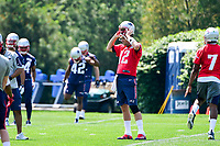June 13, 2017: New England Patriots quarterback Tom Brady (12) puts on his helmet at the New England Patriots organized team activity held on the practice field at Gillette Stadium, in Foxborough, Massachusetts. Eric Canha/CSM